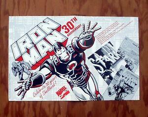 IRON MAN 30TH ANNIVERSARY Marvel Comics Promotional Poster 1992 Promo