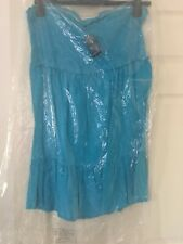 Beautiful Blue Strapless Dress With Tiered Hem Size 20