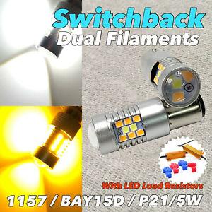 Front Turn Signal V2 Switchback LED DRL White Amber 1157 BAY15D 7528 94 W1 JA