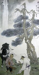 """ORIENTAL ASIAN ART CHINESE  FAMOUS PAINTING""""ask the child where his teacher"""""""
