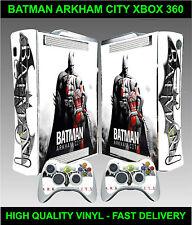 Xbox 360 Console Autocollant Peau Batman Arkham city Style Skin & 2 X Manette