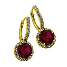 2.49CT Women's Stylish Halo Drop Genuine Ruby Earrings 14K YG Plated 925 Silver