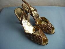 """Bruno Magli""Vtg 70-80s Gold/Brown Python Snakeskin Woven Heels- 6.5B"