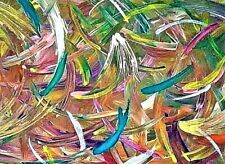 PAINTING,'SWIRLS OF SPRING!', ABSTRACT, ACRYLIC,ON PAPER BOARD -FREE SHIPPING!