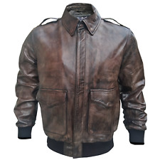WW2 A2 Aviator Flight Bomber Vintage Brown Leather Jacket for Men All SIzes