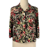 Christopher & Banks  Blouse NWOT Women's Floral Button Up Top Size Large
