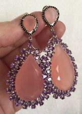 ❤️Huge Pink Pear 35x21mm Chalcedony Amethyst Spinel Sterling Earrings NWOT