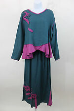 XIAO SAN FRANCISCO ARTSY TEAL BLUE GREEN PURPLE SKIRT TOP SUIT OUTFIT 2 PC S/M