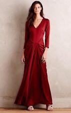 Anthropologie Hoss Intropia Anaya Gown Maxi Dress Size 42 Brick Red