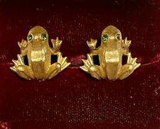 Vtg 1981 Avon Goldplated Rhinestone Frog Pierced Earrings