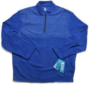 PGA Tour Mens Web Blue Fleece 1/4 Zip Golf Moisture Absorption Jacket