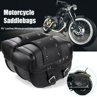 Motorcycle Leather Luggage Saddlebags Tool Saddle Bag Black For Harley Sportster