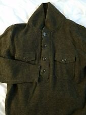 NEW Men's 100% Lambswool J CREW Sweater Shawl Button Collar Sz Small Olive Green