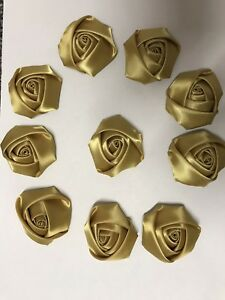 "10 Antique Gold Handmade 4d Satin Rose Flower 2"",  Bouquet,Corsage,Wedding,Craft"