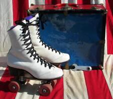 """Vintage Roller Derby White Leather Rollerskates 10"""" Boot Length w/ Skate Case"""