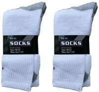 6 Pair Men's Crew Socks Solid White Everyday Sock Size 10-13
