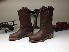 BROWN LEATHER GOODYEAR RED WING? STEEL TOE ENGINEER BIKER BOOTS SIZE 6 D