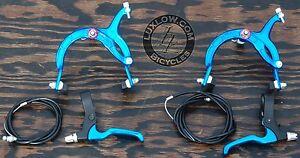 Blue Cruiser Bike Brake Set Lever Cable Caliper OS BMX Vintage Schwinn Bicycle