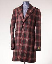 NWT $1275 L'8 (L.B.M. 1911) Brown-Red Plaid Wool Overcoat Eu 52 (fits 40 R) Coat