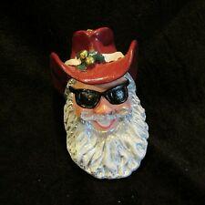Christmas Western Santa Claus Head Bust Ornament