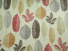 RICHLOOM RYNELL SIERRA COTTON LEAF RED GOLD UPHOLSTERY FABRIC BTY $11.50/YD 110