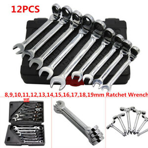 12PCS Flexible Head Metric Ratcheting Wrench Spanner Auto Repair Tool Set 8-19mm