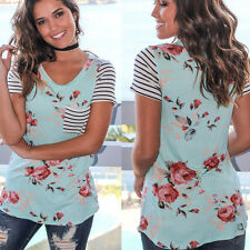 Fashion Women Striped Short Sleeve Floral T-shirt Summer Blouse Loose Beach Tops