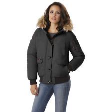 Canada Weather Gear Womens Heavyweight Hood Bomber Jacket Black 3XL #NJHSP-689