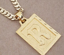 Men's Yellow Gold Plated Cuban Chain & R Initial Charm Set 24in Long 6mm Wide