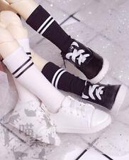 White/Black Crew Socks Stockings Stripes for 1/6 1/4 1/3 AOD AS BJD Doll Dollfie