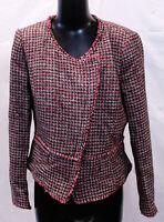 White House Black Market Women's Tweed Jacket MC7 Roman Red/Black Size 6 NWT