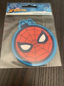 Pack Of 6 Marvel Spider-Man Shaped Gift Tags, Boys Birthday Christmas