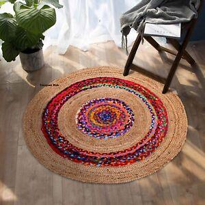 Teppich Natürliche Jute und Baumwolle Wende Rustikal Optik Ess Bereich Wohndeko