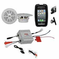 Boat Marine Bike Outdoor Safe White Speakers, Amplifier w/iPod Input, Phone Case