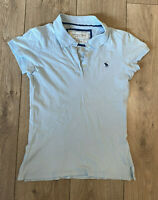Abercrombie & Fitch Women's Polo T Shirt Blue Short Sleeve Medium Cotton Blend