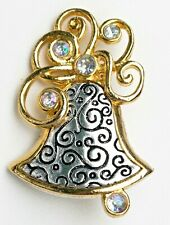 Bell with Clear Ab Crystals Brooch Pin Gold tone & Silver tone Textured Metal