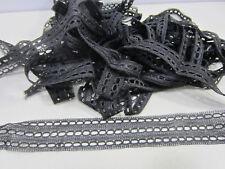 Antique Edwardian Era Black 3 Row Lace w/Holes for Ribbon L#159