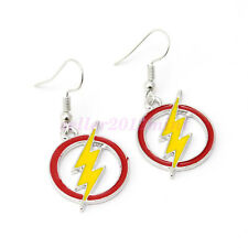 DC Comics The Flash Logo Symbol Dangle Earrings Silver Plated Cosplay Jewelry