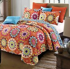 SURI ORANGE Full Queen QUILT SET : TEEN FLOWERS BLUE YELLOW MEDALLION MOD