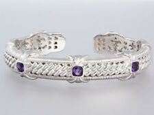 New JUDITH RIPKA Sterling Silver and Amethyst Hinged Cuff Bracelet