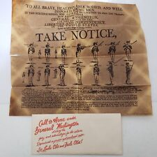 Call To Arms Under General Washington On Aged Parchment Paper Vintage 1977