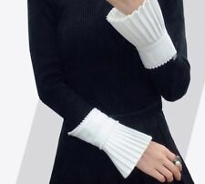 Spring Women Gloves With Beading Pleated Ruffles White Cuff For Women Casual