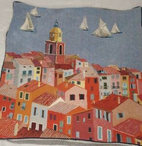 Yves Delorme IOSIS PARIS FRANCE Tapestry Cliffside Sea Village Pillow Cover(#44)