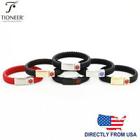 Medical Alert Bracelet ID Soft Waterproof Leather Stainless Steel w FREE ENGRAVE