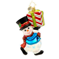 Christopher Radko - Shivery Delivery - Snowman with Present Ornament 1017199