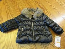 JUICY COUTURE BABY GIRL BLACK PUFFER JACKET FUR COLLAR SIZE 12M NWT