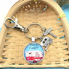 1 Pcs Happy Camper Keychain with Camper Charm Camping Keychain Pendant 3823