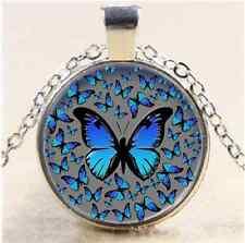Blue Butterflies Photo Cabochon Glass Tibet Silver Chain Pendant  Necklace