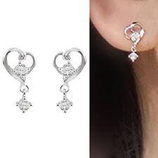 Solid 925 Sterling Silver Floating Heart Ribbon Love CZ Drop Stud Earrings