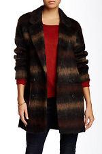 NEW SOIA & KYO Women's Brown Michelle Plaid Wool Coat Size L $395